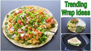 Two Trending Wrap Hack Recipes - Desi Version Trending Wraps - 100 % Whole Wheat   Skinny Recipes