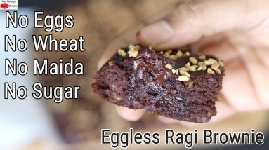 Eggless Ragi Brownie Recipe - No Wheat Flour - No Refined Sugar - No Maida   | Skinny Recipes